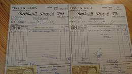 CHALON SUR SAONE - BERTHAULT PERE ET FILS - VINS EN GROS - LOT DE 2 DOCUMENTS ANNEES 1950 - Alcools