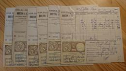 CHALON SUR SAONE - BRETIN ET CIE POUR GALLET EPICIERE - VINS EN GROS - LOT DE 6 DOCUMENTS ANNEES 1950 - Alcools