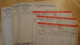 MACON - MENARD METROP - LA GRAPPE EXQUISE - VINS POUR GALLET EPICERIE - LOT DE 6 DOCUMENTS ANNEES 1950 - Alcools