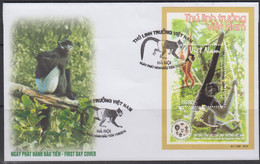 VIETNAM - 2014 -  APES   SOUVENIR SHEET ON ILLUSTRATED  FIRST DAY COVER - Vietnam