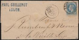 N°29B, Oblitéré Càd Bureau De Passe 1307 DIJON 1866, Sur Lettre Partielle - TB - 1863-1870 Napoleon III With Laurels