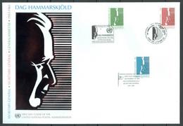 UN 2001 T067 - Dag Hammarskjöld - Triple FDC - Emisiones Comunes New York/Ginebra/Vienna