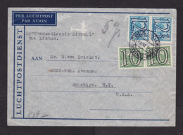 Netherlands: Cover To USA, 1941, 4 Stamps, Overprint, Censored, German Censor Label & Cancel, War, WW2 (traces Of Use) - Lettres & Documents