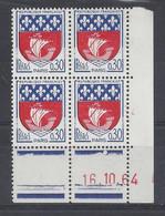 BLASON PARIS N° 1354B - Bloc De 4 COIN DATE - NEUF SANS CHARNIERE - 16/10/64 - 1960-1969