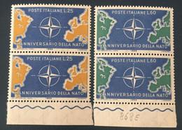 1959 - X Anniversario Della NATO - Lire  25 + Lire 60 - 1946-60: Mint/hinged
