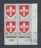 BLASON LILLE N° 1230 - Bloc De 4 COIN DATE - NEUF SANS CHARNIERE - 1/12/59 - 1960-1969
