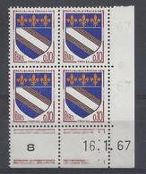 BLASON TROYES N° 1353 - Bloc De 4 COIN DATE - NEUF SANS CHARNIERE - 16/1/67 - 1960-1969