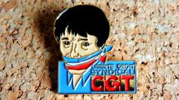 Pin's SYNDICAT PARTI POLITIQUE - CGT Liberté Droit Syndical - Peint Cloisonné - Fabricant CM - Other