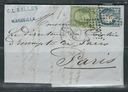 FRANCE 1871 N° 20 & 60  Obl. S/Lettre GC 2240 Marseille - 1870 Siège De Paris