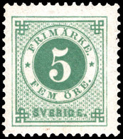 Sweden 1886-91 5 Ore Blue-green With Blue Posthorn Fime Unmounted Mint. - Neufs