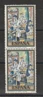 España. Bloque De 2 Sellos Nuevos. Edifil  N ° 2081. 1972. Pintura De Solana. Decoratores De Caretas. - 1971-80 Nuevos & Fijasellos