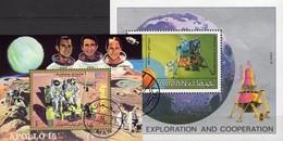 Apollo 15 Adschman Blocks 319+328 O 9€ Mond-Landefähre 1969 Hojitas Blocs NASA M/s Spaceships Sheets Flag Ss Bf VAE - USA