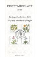 Allemagne 1981 - Michel N. 1108/11 - Plantes Aquatiques (Y & T N. 940/43) - FDC: Feuilles