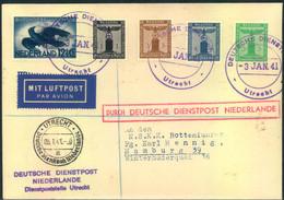 """1941, """"DEUTSCHE DIENSTPOST NIEDERLANDE-UTRECHT"""" Per Luftpost Mit Neutsch/Niederländischer Frankatur - Unclassified"""