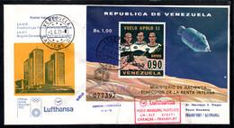 Venezuela 1971 Mi# Block 18 On Cover Caracas-Frankfurt By Lufthansa - Apollo 11 / Space - América Del Sur