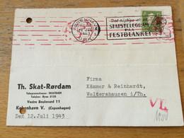 K16 Dänemark 1943 Karte Von Kopenhagen Mit OKW-Zensur Nach Waltershausen - Briefe U. Dokumente
