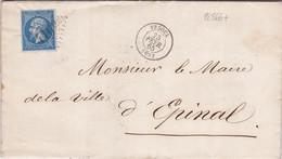 22866# NAPOLEON LETTRE BEL ENTETE MAIRIE DE VESOUL ALIENES INDIGENTS MAREVILLE Obl GC 4169 VESOUL 1865 T15 HAUTE SAONE - 1849-1876: Periodo Classico