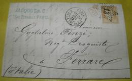 1872 FROM PARIS TO  FAMILY OF FINZI-FERRARA /INDIRIZZATA AI FINZI_RARO TIMBRO D 'ARRIVO SU LETTERA COMMERCIALE DA PARIGI - 1870 Siège De Paris