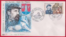 """FDC """"Editions PAC """" FRANCE-1970 # (N°Yvert 1660) Histoire-Siège De Belfort- Colonel Denfert-Rochereau ,Belfort - 1970-1979"""