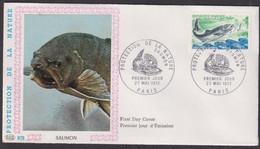 "FDC "" PAC"" # FRANCE-1972 # (N°Yvert 1693 ) Proctection Nature,Saumon,Lachs,Salmon"",obl. Ill .Paris - 1970-1979"