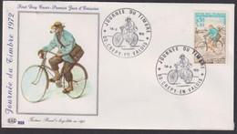 """FDC """" PAC # FRANCE-1972 (N°Yvert 1710) # Journée Du Timbre,Facteur Rural à Bicyclette#postman At Bicyle #Crepy-en-Valois - 1970-1979"""