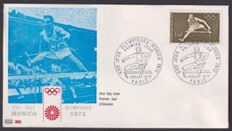"FDC "" PAC""# FRANCE-1972# (N°Yvert 1722 # Sport-Jeux Olympques,Olympic Games Münich # Athlétisme # Paris - 1970-1979"