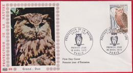 "FDC "" PAC""# FRANCE-1972 # (N°Yvert 1694 ) Proctection Nature, Grand-duc,Hibou,Eule,Owl"",obl. Ill .Paris - 1970-1979"