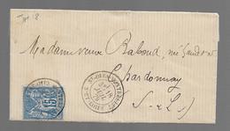St OYEN MONTBELLET  : 1879 :   CàD  Type 18 Sur Sage 15c Bleu ( N°90 )   :   Saône & Loire  : - 1877-1920: Periodo Semi Moderno