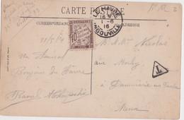 Bt - Timbre Taxe 10c Sur Cpa Sainte Adresse - Cachet Le Havre Ingouville 1916 - 1859-1955 Used