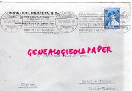 ROUMANIE -ROMANIA- LETTRE ROHRLICH PROFETA & CO- BUCAREST STR. CAROL 114- A PERUCAUD & NEVEU SAINT JUNIEN- 1928 - Briefe U. Dokumente