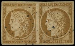 O FRANCE - Poste - 1, En Paire, Belles Marges: 10c. Bistre-jaune - 1849-1850 Ceres