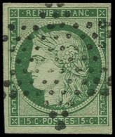 O FRANCE - Poste - 2, Oblitération étoile, Signé + Certificat Brun: 15c. Vert - Unclassified