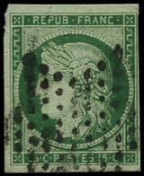 O FRANCE - Poste - 2c, Oblitération étoile, Signé Calves, Marges Non Touchées: 15c. Vert Très Foncé - 1849-1850 Ceres