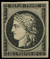 * FRANCE - Poste - 3, Signé Calves, Léger Pli Horizontal: 20c. Noir S. Jaune - Unclassified