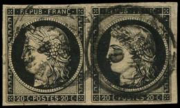 O FRANCE - Poste - 3, Cachet à Date Type 15, 6/1/49, En Paire, Signé Scheller, Belles Marges: 20c. Noir S. Jaune - 1849-1850 Ceres