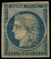 (*) FRANCE - Poste - 4, Avec Faible Restant De Gomme, Certificat Scheller: 25c. Bleu - Unclassified