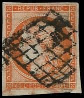 O FRANCE - Poste - 5, Oblitération Grille, Signé Scheller,  Belles Marges: 40c. Orange - 1849-1850 Ceres
