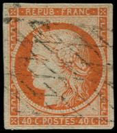 O FRANCE - Poste - 5, Oblitéré Grille Sans Fin, Signé Brun Et Calves: 40c. Orange - 1849-1850 Ceres