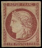 (*) FRANCE - Poste - 6, Marge Refaite: 1f. Carmin Cérès - 1849-1850 Ceres