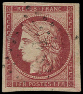 O FRANCE - Poste - 6, Fente à Gauche: 1f. Carmin Cérès - 1849-1850 Ceres