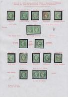 O FRANCE - Poste - 12, 13 Unités Et 2 Paires, Nuances Et Oblitérations Dont Vert Foncé Et GC, 2 Exemplaires TTB/SUP - 1853-1860 Napoleon III