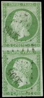 O FRANCE - Poste - 12, En Paire Verticale, PC 2695, Signé Calves: 5c. Vert - 1853-1860 Napoleon III