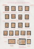O FRANCE - Poste - 13, Type I Et II, Petite étude De 26 Unités, 3 Paires Et 2 Lettres, Nuances, Oblitérations, Dont Pair - 1853-1860 Napoleon III