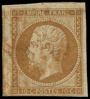 O FRANCE - Poste - 13A, étoile Rouge, Voisin à Gauche, Pli D'angle: 10c. Bistre - 1853-1860 Napoleon III