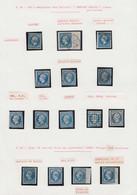 O FRANCE - Poste - 14, Type I Et II, Petite étude De 43 Unités, 8 Paires, Une Bande De 3, Et 3 Lettres, Nuances, Oblitér - 1853-1860 Napoleon III