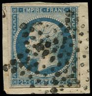 """O FRANCE - Poste - 15, Oblitération """"étoile"""" Sur Fragment: 25c. Bleu - 1853-1860 Napoleon III"""