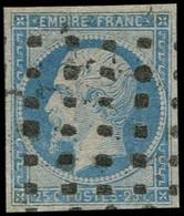 O FRANCE - Poste - 15, Oblitération Gros Points Carrés: 25c. Bleu - 1853-1860 Napoleon III