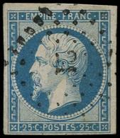 O FRANCE - Poste - 15, Petits Chiffres 21, Signé Brun (point Clair): 25c. Bleu - 1853-1860 Napoleon III
