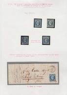 O FRANCE - Poste - 15, 4 Exemplaires Oblitérés PC (2), Et Gros Points (2), B/TB: 25c. Bleu - 1853-1860 Napoleon III