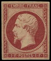 (*) FRANCE - Poste - 18d, Réimpression, Signé Calves: 1f. Carmin - 1853-1860 Napoleon III